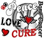 Peace Love Cure 2 Bone Cancer Shirts Gifts