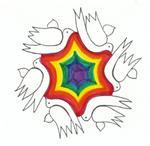 Rainbow & Doves Jewish Star
