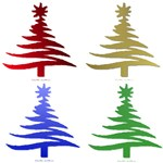 Colorful Stencil Christmas Trees