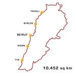 Lebanon Map 10,452 sq km