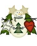 Peace Love Joy Primitive Snowman Christmas Shirt A