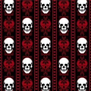 Baroque Skull Stripe Pattern Red