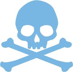 Blue Skull And Crossbones
