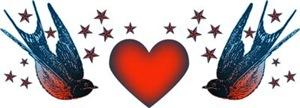 Retro Swallows And Stars Heart