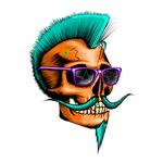 Hipster Skull Orange