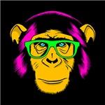 Neon Hipster Chimp Yellow