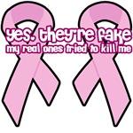 Breast Cancer Awareness Pink Ribbon fake boobs