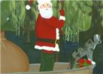 Catahoula and Santa in Pirogue