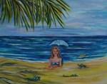 Smiling mermaid with hatching sea turtles 14x11