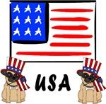 Patriotic USA Pug Dogs