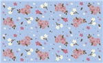 Vintage floral design on baby blue