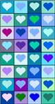 Blue and Purple Heart Squares Pattern