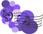 Purple Music Notes and Polka Dots