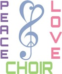Peace Love Choir Music T-shirts
