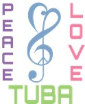 Peace Love Tuba Tee Shirts