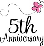 5th Anniversary Pink Butterfly Keepsake Gifts
