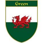 Green Welsh Flag Shield