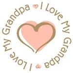 I Love My Grandpa Pink Heart T-shirts Gifts