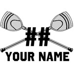 Personalized Crossed Goalie Lacrosse Sticks White