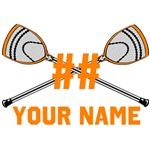Personalized Crossed Goalie Lacrosse Sticks Orange
