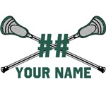 Personalized Crossed Lacrosse Sticks Green