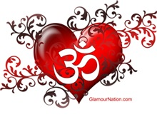 OM in the middle of the heart