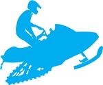 Light Blue Snowmobiler