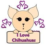 I Love Chihuahuas Cartoon (Pink)