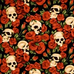 Watercolor Skulls and Roses