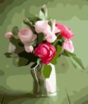Pink Roses Silver Vase