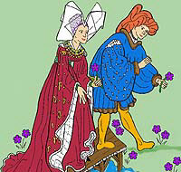 Medieval Lovers on Bridge