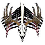 Whitetail skull on American flag