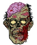 GREEN ZOMBIE HEAD with BRAINS--ROTTEN!