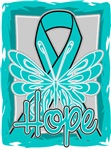 Hope Butterfly Ovarian Cancer Ribbon Shirts