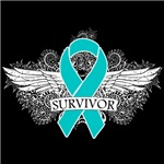 Survivor Cool Wings Ovarian Cancer Shirts