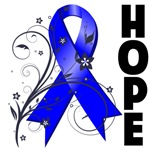 Floral Hope Ribbon Colon Cancer Shirts and Gifts