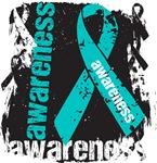 Ovarian Cancer Awareness Grunge Ribbon Shirts