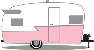 Pink and White Vintage Shasta Travel Trailer