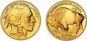 Both Sides of 2006 Gold Indian/Buffalo on White