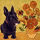 Scottie & Van Gogh's flowers