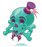 Kawaii Teal Skull