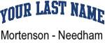 Blue Surname Design Mortenson - Needham