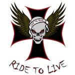 LIVE TO RIDE-SKULL & CROSS
