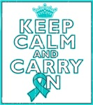 Peritoneal Cancer Keep Calm Carry On Shirts