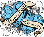 Thyroid Disease Hope Faith Dual  Hearts Shirts