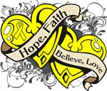 Ewings Sarcoma Hope Faith Dual Hearts Shirts