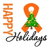 Orange Ribbon Christmas Holiday Cards & Gifts