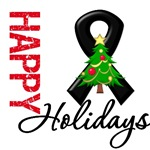 Black Ribbon Cancer Christmas Holiday Cards & Gift