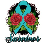Ovarian Cancer Rose Tattoo Shirts and Gifts