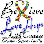 Autism Believe Heart Collage Shirts and Gifts